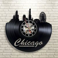 ingrosso arte di chicago-Bright Colours for Home Chicago Vinyl Clock Clock Decorazione da parete Modern Vintage Art Room