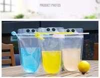 Wholesale water container for sale - Group buy Transparent Self sealed Plastic Beverage Bag Drink Milk Coffee Container Drinking Fruit Juice Bag Food Storage Bag EEA1585N