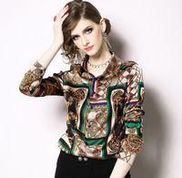 ingrosso sciarpe a catena-moda donna stampata catena di moda in raso camicetta con scollo a bavero moda donna estate camicie a petto singolo