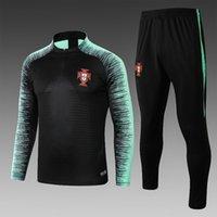 yeşil ceket siyah kollu toptan satış-2019 Portekiz milli takım üst eğitim kıyafeti siyah ceket yeşil şerit kol z eğitim kıyafeti 18/19 uzun futbol eşofman s-xl