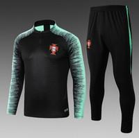 ingrosso maniche nere giacca verde-2019 Portogallo squadra nazionale vestito di formazione giacca nera striscia verde manica z allenamento vestito 18/19 lunga tuta da calcio s-xl