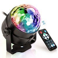 ingrosso palla rotante di cristallo-3W Mini telecomando RGB LED Cristallo rotante magico Palla rotante Luci Suono attivato Luce da discoteca Musica Natale Proiettore laser KTV Party