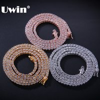 tennis halskette sterling großhandel-Uwin Authentic 100% 925 Exquisite Frauen Männer 3mm Cz Halskette Luxus Sterling Silber Tennis Ketten Geschenk J190615