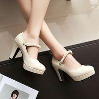 Wholesale asakuchi shoes resale online - Sexy2019 Luxurious Pearl Trip Bring Spring Asakuchi Single Shoe Sexy Coarse High heeled Shoes F107