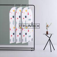 Wholesale suits bags cover resale online - 50pcs PEVA With Zipper Clothes Dust Cover Hanging Pocket Clothing Suit Clothes Coat Hanging Storage Bags