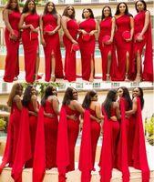 ingrosso abiti da damigella d'onore-2020 Cheap arabo Red Mermaid abiti da sposa una spalla laterale Split Piano Lunghezza lungo un matrimonio vestito convenzionale damigella d'onore Abiti