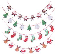 Wholesale hanging santa flags resale online - Merry Christmas Wall Hanging Drop Ornaments Santa Claus Snowman Socks Tree Flag Banner Decoration Happy New Year