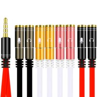Wholesale convert pcs for sale - Group buy 3 mm Jack Microphone headphone audio splitter cable male to female Mic headphone convert for tablet pc laptop smartphone