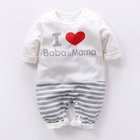 Wholesale baby romper i love for sale - Group buy I Love Baba Mama Romper Newborn Letter Striped Infant Kid New Born Jumpsuit Baby girl Long Sleeve Outfits Boy