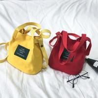 Wholesale navy canvas bags online - Lady Letter Canvas Bucket Bag Mini Shoulder  Bag Handbag Girls a950295bd3777