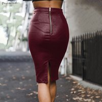 Wholesale moda zipper for sale - Group buy Cwlsp Autumn Winter Thicken Midi Moda Office Lady Pencil Leather Skirt Back Zipper Women Saia Faldas Mujer Skirt Ql4171