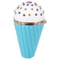 ingrosso sacchetti di promenade blu-Blue Ice Cream Catene a forma di borsa Bella Multicolor Rivet Fashion Pu Clutch Borsa da sera Lady Purse carattere prom Borsa a tracolla # 365247