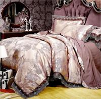 хлопок сатин постельные принадлежности наборы оптовых-Люкс Размер 4шт жаккарда Комплект постельных принадлежностей King Queen Постельное белье шелковое пододеяльник Кружева атласная простыня Set Наволочки