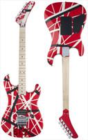 guitarra de color al por mayor-Striped Series 5150 VAN HALEN Guitarra Eléctrica Rojo Dorso Color Blanco