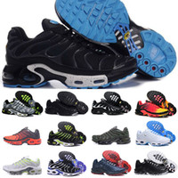 Wholesale mens leather open shoes for sale - Group buy Tn Mens Shoes New Black White Red Air TN Plus Ultra Sports Shoes Cheap TN Requin Fashion Casual Sneakers