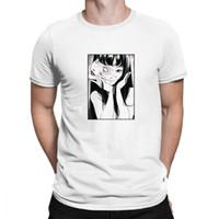 japon pamuklu giysiler toptan satış-Japon Anime Pamuk T Gömlek Erkekler Junji Ito Tees Korku Manga Adam Kısa Streetwear Harajuku erkek Giyim Tasarımları Unisex Kawaii
