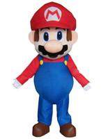 süper mario maskot kostüm toptan satış-Yetişkin Boyutu Süper Mario Maskot Kostüm Fantezi Elbise Güzel Kardeşler Cadılar Bayramı partisi olay için Suit