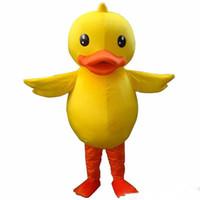 trajes de mascote de pato amarelo venda por atacado-2019 hot new o pato amarelo mascote traje adulto pato mascote frete grátis