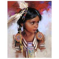 Wholesale native paintings resale online - Full round Diamond Mosaic American Natives little girl D DIY Diamond Painting Cross Stitch Embroidery art Gifts