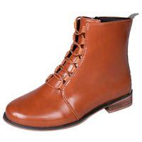 senhoras botas de cowboy curto venda por atacado-MUQGEW Mulheres Moda Feminina Couro De Moda Romano Equitação Cowboy Sapatos Botas Curtas Mais Novo Vintage # 1127