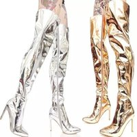 Wholesale bright boots resale online - Autumn and winter new T stage show gold silver mirror bright leather high heel pointed over the knee high boots large size women s boots