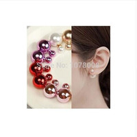 Wholesale 16mm black pearl for sale - Group buy Hot selling Fashion sales in on both sides cute color glossy large simulated pearl mm earrings for women