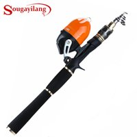 baitcasting carretes de pesca en hielo al por mayor-Sougayilang Ice Fishing Rod Combo 1.8M Protable EVA Handle Carbon Fishing Rod 2.6: 1 Baitcasting Reel Tackle Set