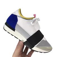 zapatos de cuero de los hombres de marca al por mayor-Nombre Nuevo hombre Zapatos casuales Mujer Malla Entrenador Zapatilla de deporte Cordón de cuero Diseñador de moda Zapatos chaussure femme Tamaño 35-46