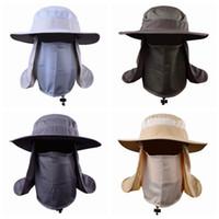 sombreros de protección solar cubierta de cara al por mayor-Actividad al aire libre Ciclismo Gorra de sol Sombrero de pesca Sombrero unisex de ala ancha Sombrero de protección solar con solapa de cuello extraíble Cubierta de la cara ZZA966