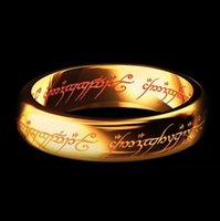 schwarze stahlmagie großhandel-LOVER 'Trauringe Magic Letter The Lord of One Ring Schwarz Silber Gold Titan Edelstahl Ring für Männer Frauen wj229