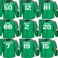 patrick sharp jerseys verdes al por mayor-Mens 2018 Chicago Blackhawks 88 Patrick Kane 19 Jonathan Toew 10 Patrick Sharp 2 Duncan Keith Green Día de San Patricio camisetas de hockey personalizadas