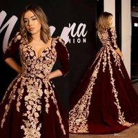 laço caftan venda por atacado-Kaftan Caftan Borgonha Veludo Vestidos de Noite Vestido de Baile Meia Manga 2019 Ouro Luxo Lace Applique Árabe Dubai Abaya Ocasião Vestidos