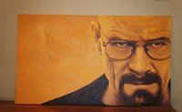 Wholesale oil painting canvas sizes for sale - Group buy Framed Breaking Bad Walter White Quality Handpainted HD Print Portrait Art Oil Painting On Canvas Wall Decor Multi Sizes Mv14
