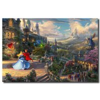 Wholesale kinkade art resale online - Thomas Kinkade Sleeping Beauty Dancing In The Enchanted Light Art Canvas Poster Painting Wall Picture Print Home Bedroom Decor
