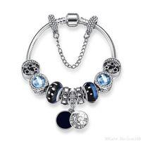 encantos da estrela azul venda por atacado-Blue Starry Sky Bead Pulseiras Pandora Charm Bangle para As Mulheres de Cristal Do Vintage Estrela de Vidro Lua Pulseira Frisada Pulsera Jóias Presente de Natal