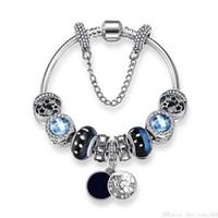 mavi cam pandora boncuklar toptan satış-Mavi Yıldızlı Gökyüzü Boncuk Bilezik Pandora Charm Bileklik Kadınlar için Kristal Vintage Cam Yıldız Ay Boncuklu Bilezik Pulsera Takı Noel Hediyesi