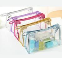 şeffaf kozmetik berrak torbalar toptan satış-Şeffaf Kozmetik Çanta PVC Fermuar Temizle Su Geçirmez Makyaj Çantası Kadın Seyahat Tuvalet Saklama Torbaları Makyaj Organizatör Vaka 7 stilleri GGA2042
