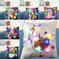 Wholesale dog cushions home for sale - Group buy LED Light Luminous Pillow Case Linen Pillow Covers Cushion Cover Santa Claus Dog Pillowcase Sofa Car Decor DHL WX9