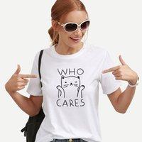 kadınlar beyaz tişörtler toptan satış-Kadın Tasarımcı Tişörtlü Tees Kadınlar Komik Gömlek Kadın Yaz Vintage Tee Gömlek Femme Kawaii Siyah Beyaz Tshirts Pamuk Kadınlar Top Tops