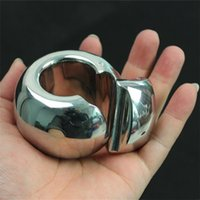 Wholesale testicular toys online - Stainless Steel Scrotum Pendant Penis Bondage Ring Pendant Training Ball Cock Ring Testicular Lock Sex Toys for Men