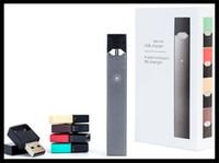 cigarro eletrônico, ajustar venda por atacado-Sistema de vagem fechado mod vaporizador starter kit flat vape caneta cigarro eletrônico grosso óleo dispositivo de fumar conjunto completo com 4 vagens caneta vape