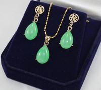 amethyst grau perlenarmbänder großhandel-Edle neue Großhandelsschmucksachen 12 * 16mm natürlicher grüner Jadeanhänger und hängender Schmucksatz der Kette
