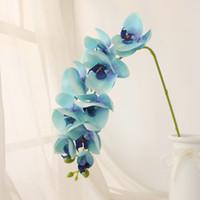 künstlicher schmetterling für display großhandel-9 köpfe 88 cm schmetterling orchidee künstliche blume wohnkultur hochzeitsdekoration display gefälschte orchidee seidenblumen zweig kranz