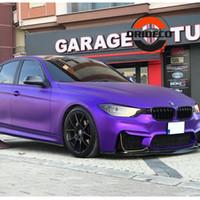 vinilo mate satinado al por mayor-100/150/200/300/500 cm Premium Purple Vinyl Metallic Car Metal con canales de aire Satin Purple Metallic Car Film Decoration