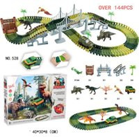 Wholesale plastic car tracks for sale - Group buy DIY Simulation Jungle Dinosaur Theme Park Children Track Toy Car Educational Toys For Children Gifts