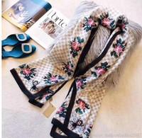 bandeau abeille achat en gros de-Bandeau de foulard en soie de marque de luxe pour les femmes 2019 été nouveau concepteur d'abeille style longues écharpes Wrap avec étiquette 180x90 cm châles foulards S447