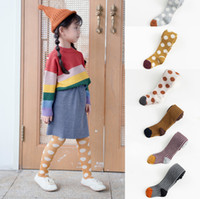 Discount kids fall color leggings Kids pantyhose girls polka dots printed tights baby girls patchwork color stripe knitted leggings fall winter children cotton bottoms F9749