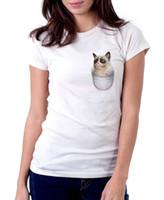 бесплатные карманные киски оптовых-Карманный кот котенок Киска смешные белые печатные футболки FN9810 смешные бесплатная доставка унисекс