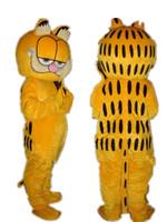 ingrosso personaggi del fumetto gatto giallo-Personaggio professionale di Garfield Cat Mascot Costume personaggio gatto giallo cartone animato Halloween Party Party Fancy Dress