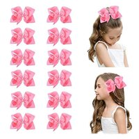 Wholesale making hair bows ribbon for sale - Group buy 15pcs quot Big Hand made Grosgrain Ribbon Hair Bow Alligator Clips Hair Accessories for Little Teen Toddler Girls